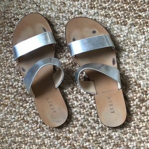 J. Crew Italian Silver Metallic Sandals